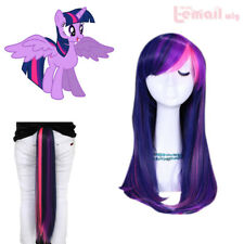 USA Ship!  My Little Pony Twilight purple /pink Synthetic Cosplay Wig Tail Set