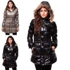 Damen Steppmantel Winter Mantel kurzer Mantel Winter Jacke mit Kapuze & Fell