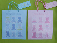 Gift bag for new baby boy or girl blue or pink medium 25x21x10cm inc gift tag