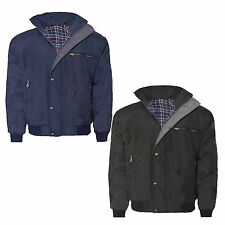 Mens Sky Diver Bomber Warm Padded Check Lined Rain Heavy Work Jacket Coat
