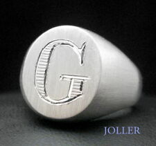 Signet Ring Silver Monogram Initial Hand Engraved Personalized Matte or Polished