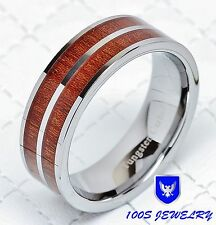 8mm Mens Tungsten Carbide Wood Inlay Wedding Band Engagement Ring Size 8-12