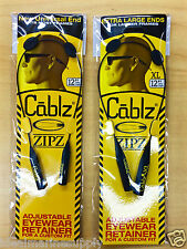 "Cablz Eyewear ZipZ Adjustable Sunglass Reading Glasses New 12"" or 12""XL Black"