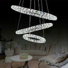 LED Round Luxury Crystal Pendant Light Fixtures 3 Rings Ceiling Lamp Chandeliers