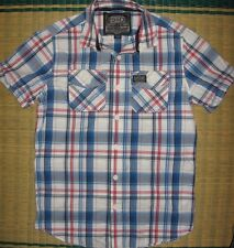 New Superdry mens washbasket short sleeved Shirt white blue Check S, L, 2XL