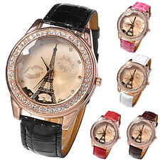 Women Girl Lover Lips Eiffel Tower Champagne Dial Analog Quartz Wrist Watch BG7U