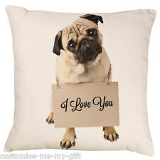 Pug Love (long) You Cushion | Add your own text choice | Gift | Personalised