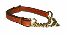 Adjustable Half choke chain strong leather dog collar with solid brass fittings