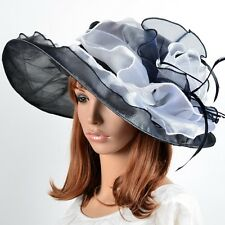 Women Organza Kentucky Church Dress Hat Formal Large Floral Wide Brim Hat