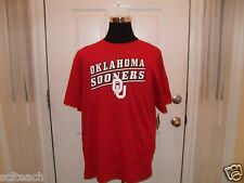 Brand New w/Tags Adult Oklahoma Sooners Red NCAA Genuine Stuff Licensed T-Shirt