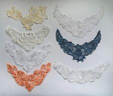 **FREE SHIPMENT**  Embroidered Flowers Roses V-neck Collar Lace Appliques-V0127