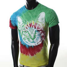 NEW MENS CAT DYE MULTI COLORFUL ANIMAL GALAXY HIPPIE VINTAGE FESTIVAL T-SHIRT