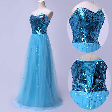 Sexy Strapless Sequins Bridesmaid Evening Prom Ball Gown Gorgeous Party Dress