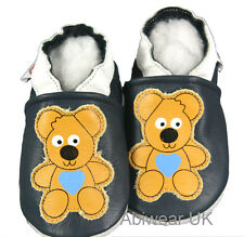 Soft Soles Leather baby Shoes Happy Teddy Dark Navy Pram Walker Kids NEW 0-18M