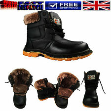 BOY'S KIDS HI HIGH TOPS FUR LINED LACE UP ZIP UP WARM WINTER ANKLE  BOOTS SHOE