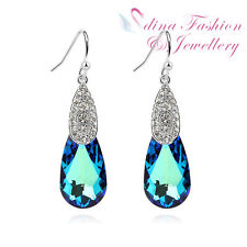 18K White Gold Plated Made With Swarovski Crystal Teal Teardrop Dangle Earrings