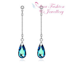 18K White Gold Plated Made With Swarovski Crystal Shining Teardrop Long Earrings