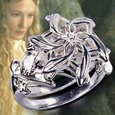 Lord of the Rings 18k Gold Plated Galadriel Ring Crystal Nenya Water Ring sz 5-9