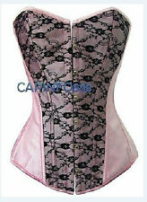 Sexy Pink Lace up Satin Corset Buster S M L XL MH92