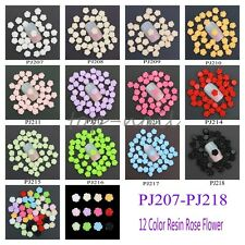 50pcs 12 Colors 3D Resin Rose Nail Art Beads Stickers Tips DIY Decorations