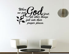 Wall Decal Quote Verse Bible Religious Family Home When We Put God First Things
