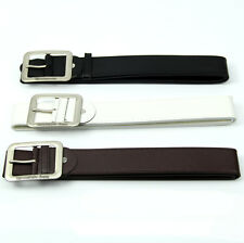 Hot Fashion Mens Leatherette Solid Premium Textured Metal Buckle Belt Waistband