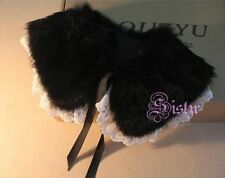 Fashion Vintage Rabbit Furs Collar Lace Ribbon Scarf Shawl Shoulder Wrap Strips