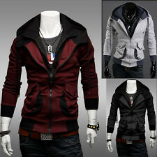 1 Men's Korean Hooded Cardigan Contrast Color Jacket Spring Autumn Slim Fit Coat