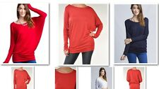TRENDY Women's LS DOLMAN BATWING relaxed fit TUNIC top BOAT neck SOLID shirt *