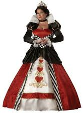 ADULTS WOMENS PLUS SIZE ALICE IN WONDERLAND QUEEN OF HEARTS COSTUME - 2 SIZES