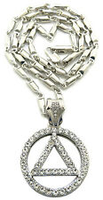 Sobriety Circle & Triangle Symbol Bullet Chain Necklace Mens Fashion Jewelry