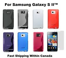 TPU S Shape Soft Back Case Cover Samsung Galaxy S II S2 GT-I9100M + Protector