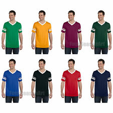 Augusta Mens V Neck Jersey Striped Sleeves Baseball Team Sport T shirt S-2XL 360