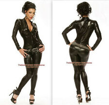Black Bodysuit Catsuit Cat Woman Jumpsuit Halloween Costume Polyester S- XXL