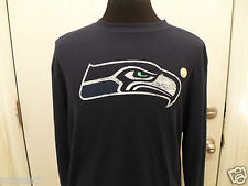 Brand New Seattle Seahawks NFL Navy Blue Long Sleeve Thermal T-Shirt Mens Reebok