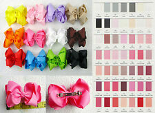 """12pc 4"""" Girls baby infant Boutique Hair Bows with French clips or you pick color"""