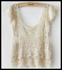 FREE GIFT + Vtg HIPPIE Boho sheer Floral CROCHET lace dress tunic TOP