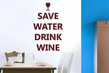 Save Water Drink Wine Wall Stickers Decals Art Quotes Decor Vinyl