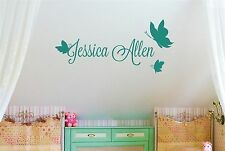 Personalised Name With Three Butterflies Wall Stickers Decals kids Decor Vinyl