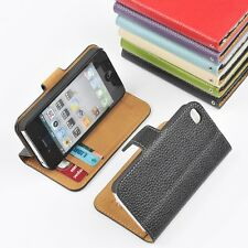 Genuine Leather Wallet Case Card Holder Pouch Flip Cover For Apple iPhone 4s 4