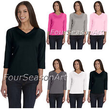 LAT Ladies V Neck T Shirt with Three Quarter Sleeves Womens S-2XL 3577