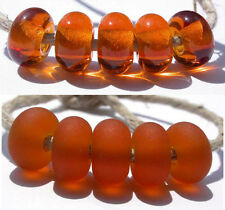 5 MEDIUM AMBER * donut handmade lampwork glass spacer beads TANERES sra