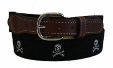 Nautical PIRATE SKULL CROSS BONES Embroidered Leather Canvas Ribbon Belt