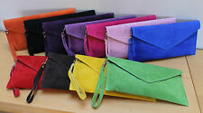 Leather Suede Clutch Bag * Various colours Long & Short detachable straps