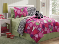 Girls Pink Green Reversible Hearts Zebra Print Bed in a Bag and Sheets TWIN FULL