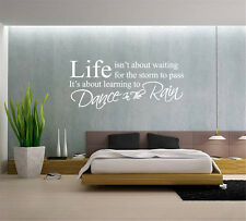 Hand Carving Life Isn't About Waiting Dance in The Rain Wall Art Wall Sticker UK
