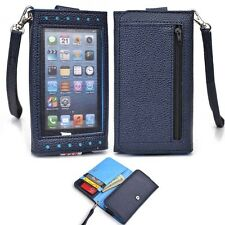 Navy Blue Universal Smartphone Wristlet Wallet Case with Clear Cover for Samsung
