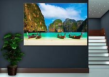 Thailand Beach Boats Canvas Decor Wall Art Prints Photo Colorful Print