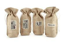 Jute Wine Bottle Gift Bag - Assorted Slogans - Bags - Hessian Natural - Party