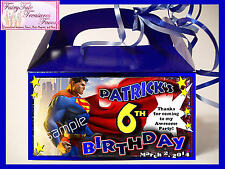 BATMAN SPIDERMAN SUPERMAN Birthday Favors Goody Loot Box PERSONALIZED